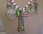 Sweet Sherbet Anarchy: Rockabilly Punk Necklace Rhinestone Safety Pin Hearts Skulls and Cross Vintage Assemblage Silver Pink Lime Green