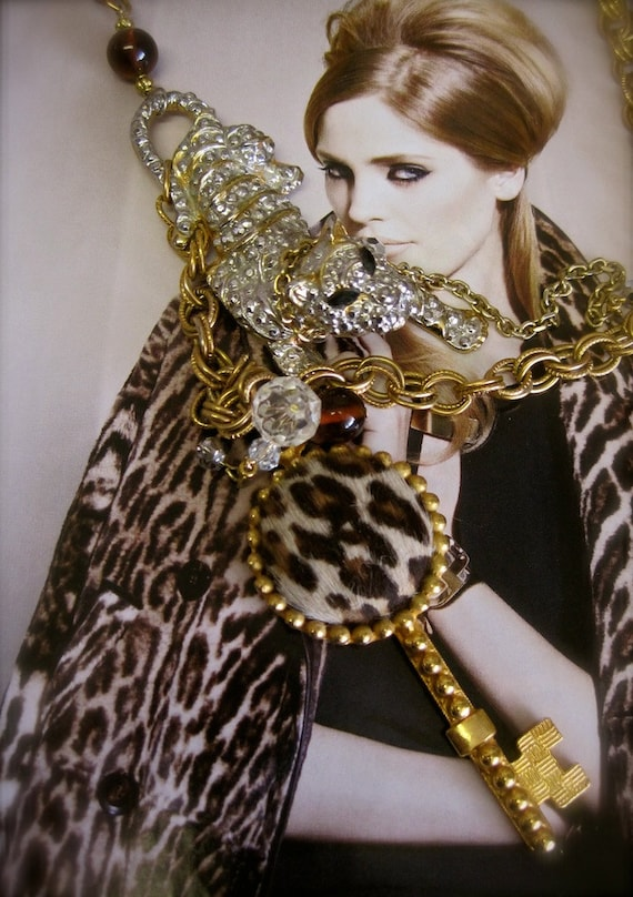 ON HOLD final payment The Heiress' Pet:  Vintage Assemblage Necklace Leopard on Chain with Fur Key One of a Kind ooak