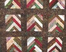 Brown Lap Quilt  Batik Braid Throw Quilt