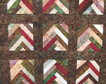 Brown Lap Quilt  Batik Braid Throw Quilt