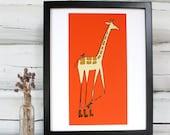 Giraffe Nursery Art, Giraffe on Rollerskates print, Nursery decor, Boys room decor, girls room decor