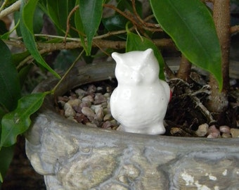 white  barn OWL Miniature   Woodland Terrarium Animal   tiny owl Ceramic bead sized glazed.  Ready to ship