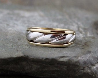Men's Wedding Band - 10K White and Yellow Gold  - Circa 1990 - Estate Jewellery from A Second Time
