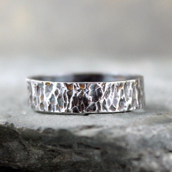 Rustic Sterling Silver Band - Men's Jewellery - Wedding Band