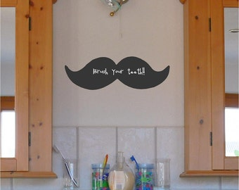 Chalkboard Mustache vinyl lettering wall decal sticker