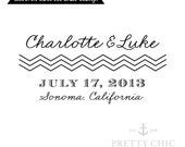 Chevron Save the Date Stamp - Custom Stamp by Pretty Chic