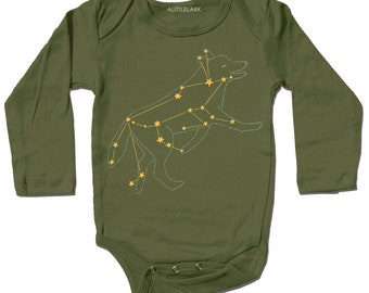 Lupus Wolf Constellation Bodysuit, now on sale animal gold star Olive Green  print metallic golden foil screenprint, long sleeve baby onesie