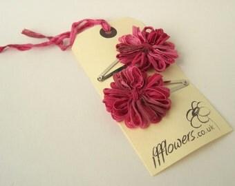 Flower Hair Clips in Raspberry Pink
