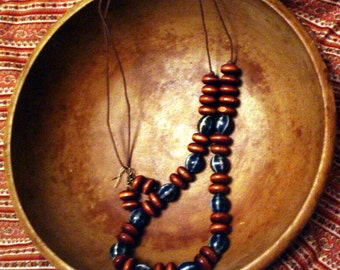 Blue Pottery Bead Long Necklace on Cord with Vintage Wooden Beads