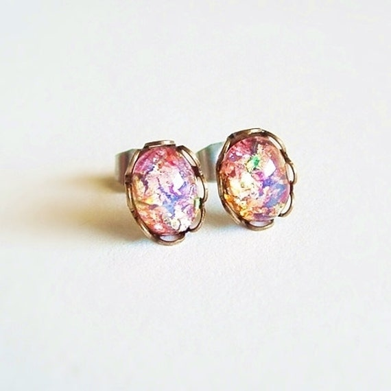 Tiny Opal Studs Small Vintage Glass Harlequin Fire Opal by ...