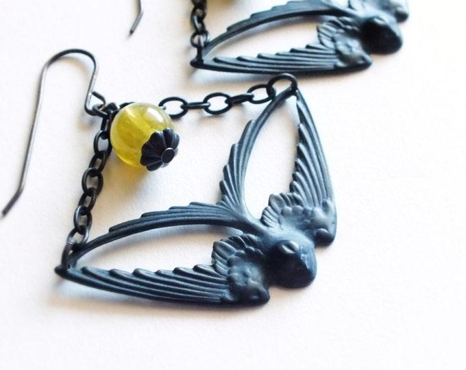 Large Black Bird Earrings Black Oxidized Brass Swallow Earrings Black Olive Green Victorian Bird Statement Jewelry