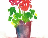 Red Geraniums Watercolor Print