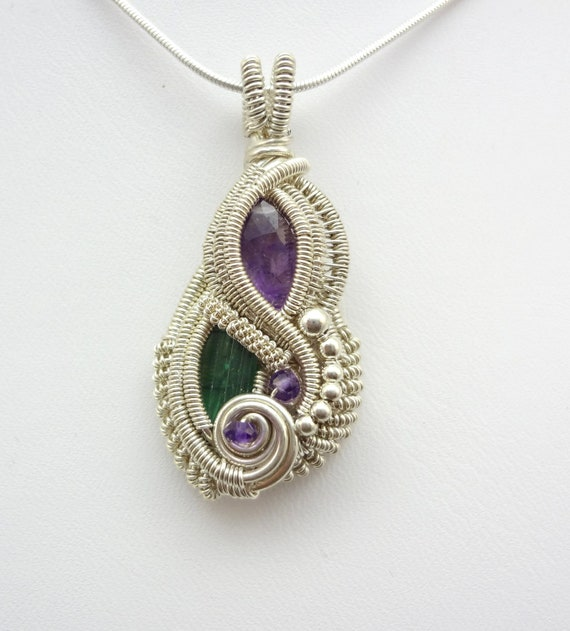 Amethyst and Blue Tourmaline Wire Wrapped Pendant