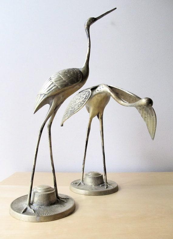 monumental brass stork, vintage pair of heron, asian home decor