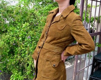 1970s Brown Suede Belted Jacket