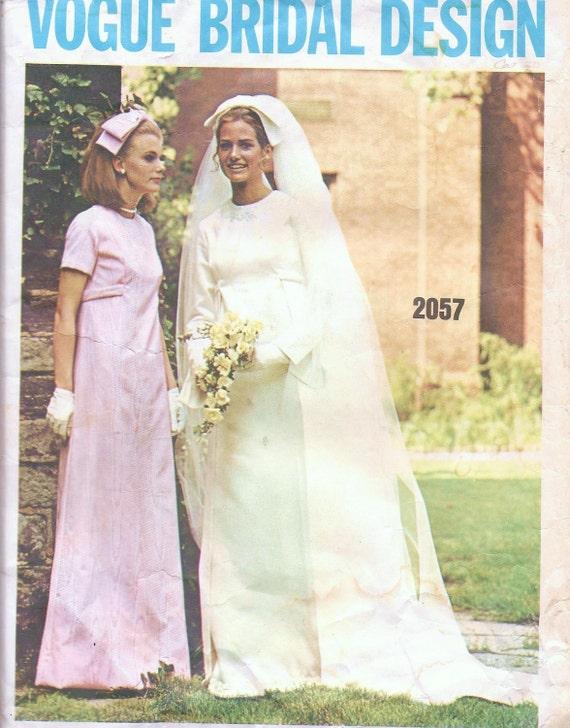 Vintage sewing pattern 1960 39 s wedding dress vogue bridal for Vintage wedding dress patterns free