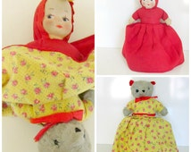 Antique Red Riding Hood Doll Topsy Turvey with Wolf Musical 1940s