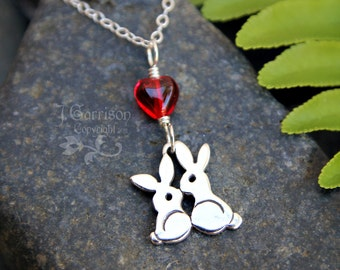 Love Bunnies Necklace - sterling silver kissing bunny rabbits under a red glass heart - daughter, anniversary, wedding - free shipping USA