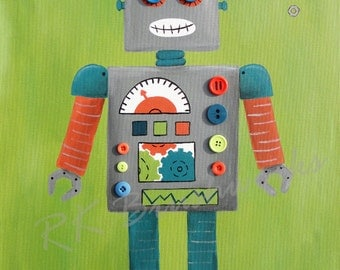 Kids Wall Art, Nursery Art Print for Baby Nursery Decor, Childrens Art Print - Robbie Robot 8x10 - boys robot art, wall art, robot art