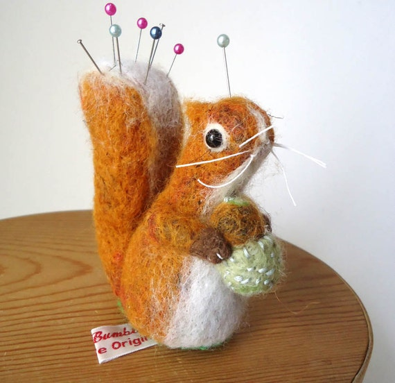 Needle Felted Squirrel  Pin Cushion Handmade By Miss Bumbles