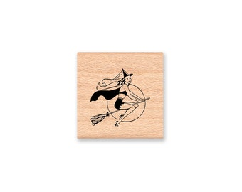 Halloween Witch Rubber Stamp~Halloween DIY Decor~Halloween Crafting~ DIY Party Favors and Treets~ wood mounted rubber stamp (17-01)