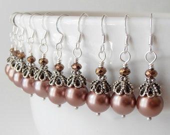 Mocha Bridesmaid Earrings, Light Brown Pearl Earrings, Vintage Style Antiqued Dangle Earrings, Beaded Bridesmaid Jewelry, Wedding Jewelry