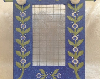 Standing Jewelry Earring Holder, Frame Hand Painted Blue and Green