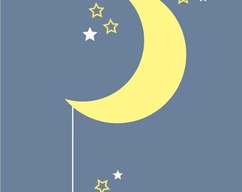 Moon and Star decal, vinyl moon decal, Nursery Wall Decals, Half Moon decal, crescent moon, wall star stickers, moon wall decal, star decals