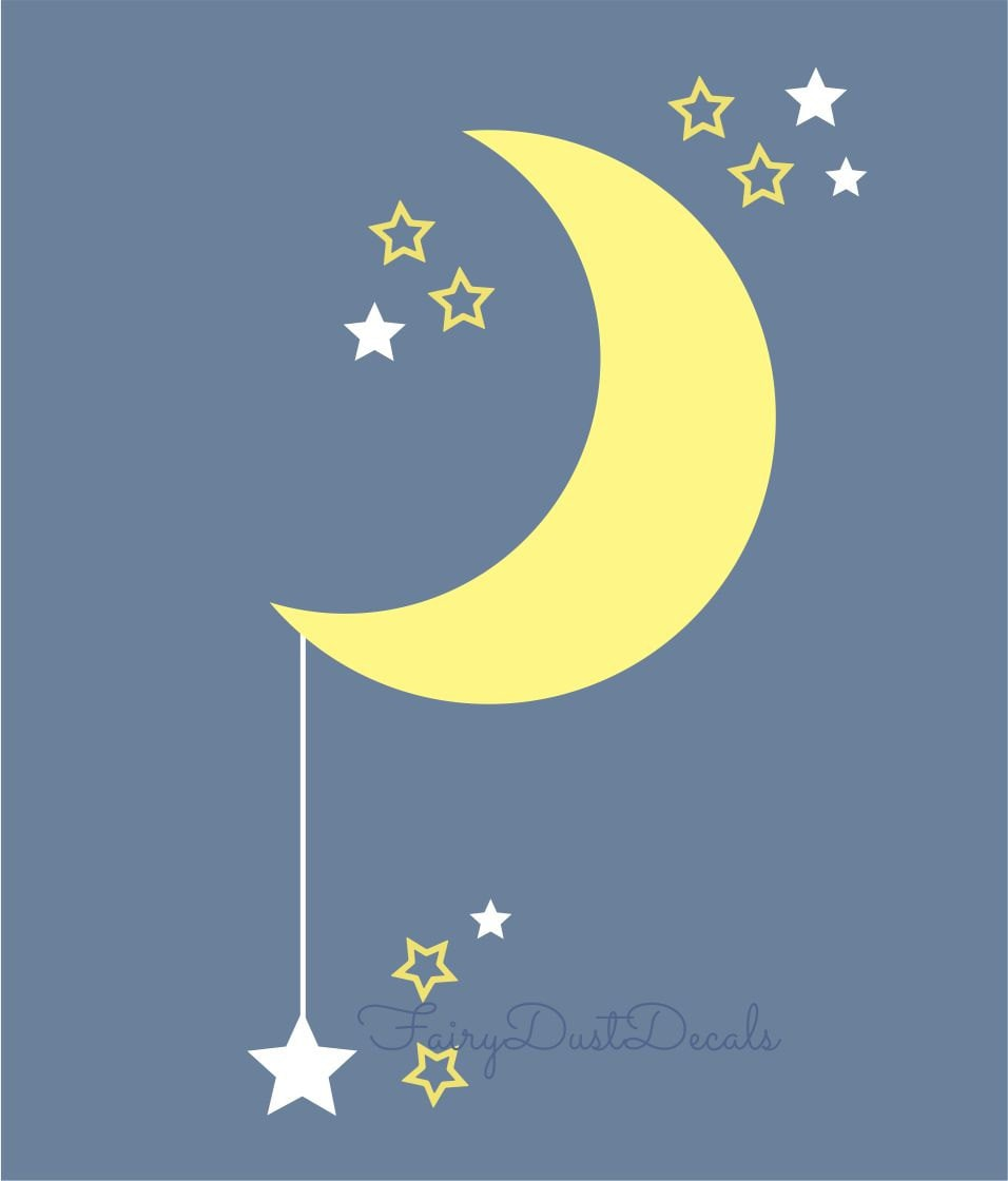moon and star decal vinyl moon decal nursery wall decals. Black Bedroom Furniture Sets. Home Design Ideas