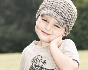 Gray Crochet Toddler Newsboy Hat, Visor Beanie, Gender Neutral Hat, MADE TO ORDER