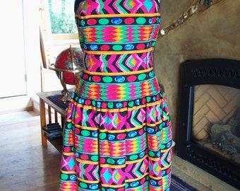 TRIBAL Dress Designer strapless Boned Corset Party frock size 12