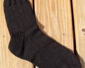 Hand-knitted black wool socks size 11