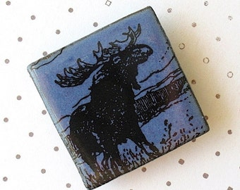 Moose Brooch. Cornflower Blue Glaze on Black Porcelain Square. Denim. Indigo. Navy. Woodland Wildlife. Up North Scene. Nature Lover. Rustic