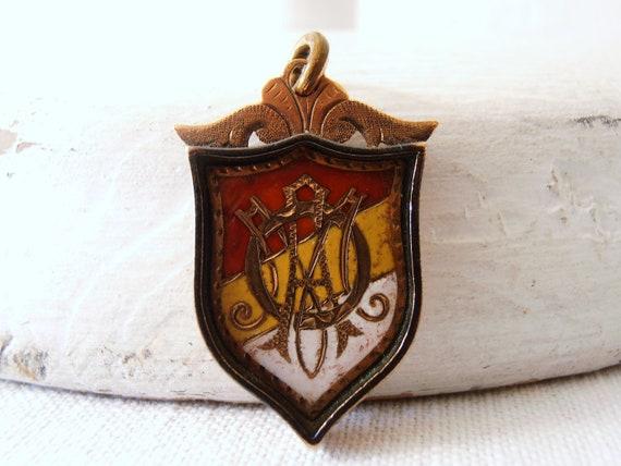 Vintage Victorian Lodge Shield Pendant