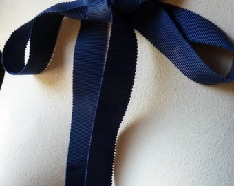 5 yds. Navy Ribbon Grosgrain for Bridal, Millinery, Bouquets, Gifts, Jewelry Supply