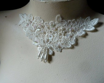 Beaded Lace Applique in Ivory for Bridal, Lyrical Dance, Jewelry, Costume Design IA 214