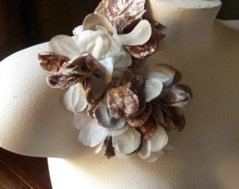 Mocha Flowers Velvet and Organza Silk for Bridal, Headbands, Hats, Sashes, Boutonnieres, Corsages. MF28