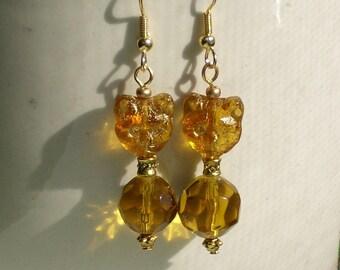 Egyptian Revival Cat Charm Gold Glass Cat Earrings