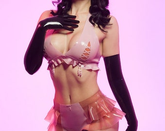 Latex Rubber Lilac Pearl knickers with transluscent Pink ruffles