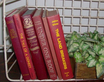 Instant Collection of 6 Brick Red Vintage and Antique Books