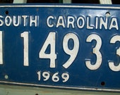 Vintage Mid Century Blue Metal 1969 South Carolina Vehicle License Plate Numbers, Letters, Typography Masculine Decor