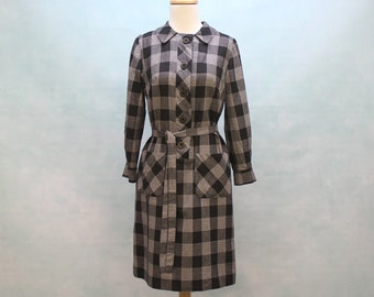 70s Button Front Sheath Dress / Black & White Plaid Check / Tie Belt / XSmall to Small
