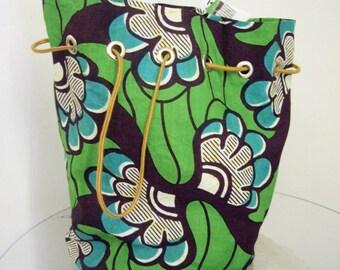 Wax Block Bag- Handmade 1950's Style Drawstring Purse - Gorgeous Vlisco Wax Block Print Fabric Purse Handbag -Pagne - Sea Green, Aqua, Black