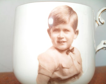 Vintage Prince Charles Royal Family Fine Bone China Souvenir Cup with Sepia Photo Portrait