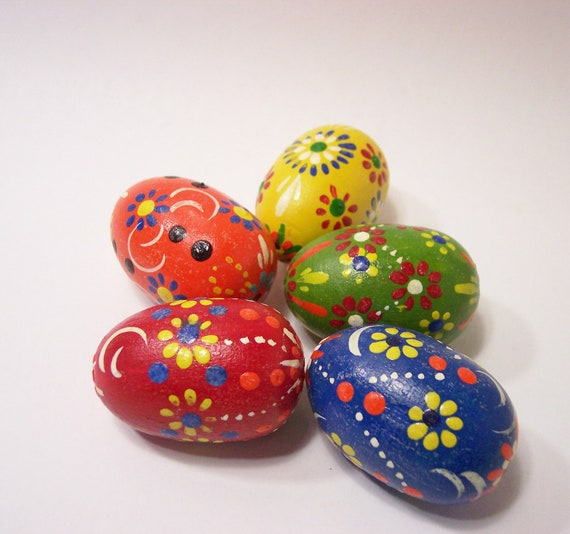 5 painted wooden easter eggs with flowers folk art travel - Painted wooden easter eggs ...