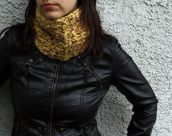 Handmade Yellow Scarf Yellow and Beige Cowl Fall Fashion Winter Accessory READY to SHIP