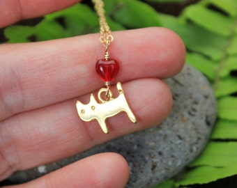 Gold Love Kitty necklace - matte gold plated cat charm, red glass heart, 14k gold filled necklace -Free Shipping USA