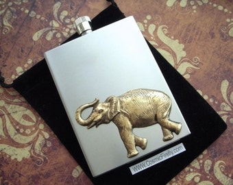 Elephant Flask Industrial Steampunk Vintage Inspired Rectangular Square Edges Silver Stainless Steel & Brass
