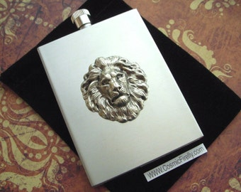 Silver Lion Flask Industrial Steampunk Style Retro Vintage Inspired Rectangular Square Edges Silver Stainless Steel