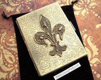 Brass Fleur De Lis Cigarette Case Rustic Antiqued Gold Brass Tone Gothic Victorian Art Nouveau Steampunk Style Vintage Inspired